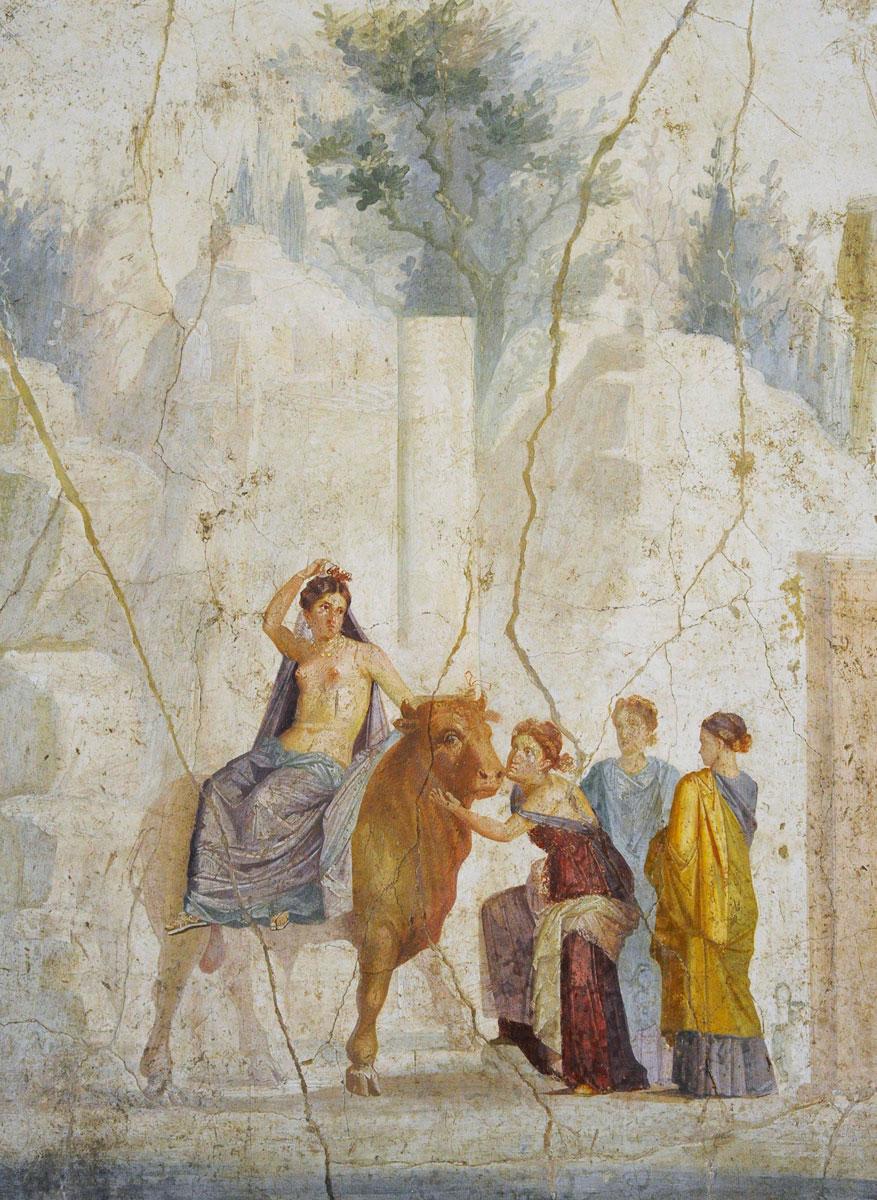 Europa und der Stier, Fresko aus Pompeji, 1. Jahrhundert etwa zur Zeit Ovids | Bild von: Archäologisches Nationalmuseum Neapel/AKG